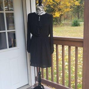 H&M size 4 little black dress ruffled neckline
